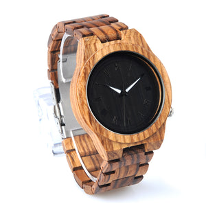Classic Roman Numeral Analog Wooden Watch with Wood Band