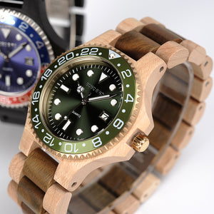 Diver Style Wooden Watch for Men with Classic Steel Face and Wooden Band