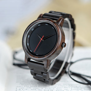 Modern Ebony Wooden Watch with Wooden Band