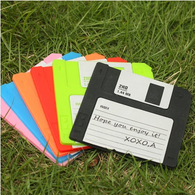 "Set of 6 Labelled Retro Floppy Disk Silicone Bar Drink Coaster 3.5"" Diskette Novelty Design Non-slip"