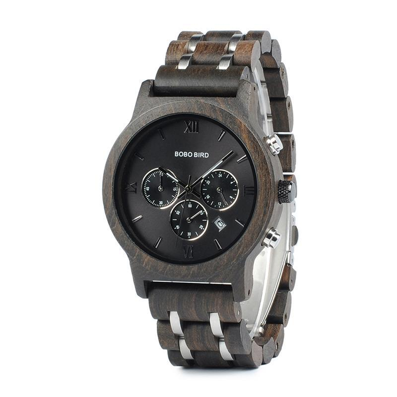 Chronograph Wooden Luxury Watch with Wooden Band