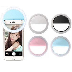 Rechargeable LED Flash Light Up Selfie Luminous Ring Clip Universal for iPhone and Android Cell Phone Devices