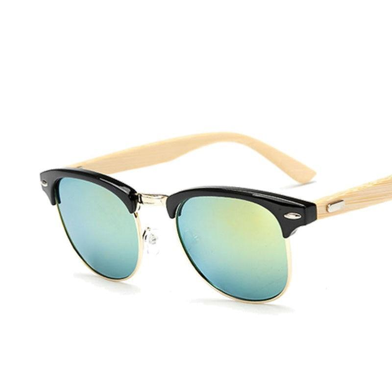 Classic Browline Wooden Frame Sunglasses