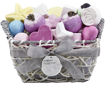Bath Bomb Spa Gift Set in a Woven Basket