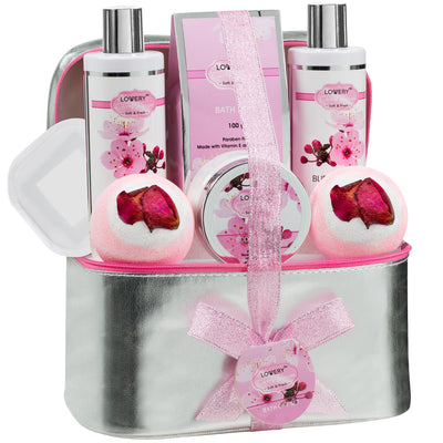 Cherry Blossom Spa Bath and Body Gift Set in a Silver Cosmetic Bag - Lovery
