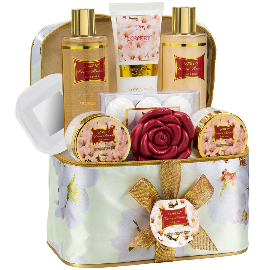 fbe1c303b41e3 Honey Almond Spa Bath and Body Gift Set in Cosmetic Bag - Lovery