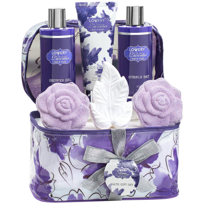 Lavender and Jasmine Spa Bath and Body Set in a Cosmetic Bag - Lovery