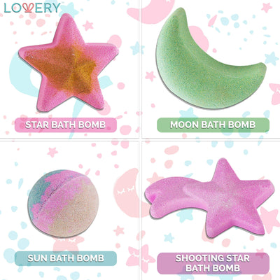 Galaxy Bath Bomb Set For Children With 4 Cosmic Bath Fizzers