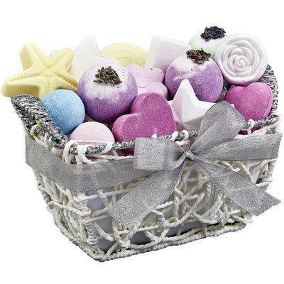 LOvery Bath Bomb Spa Gift Set in a Woven Basket - Side  view