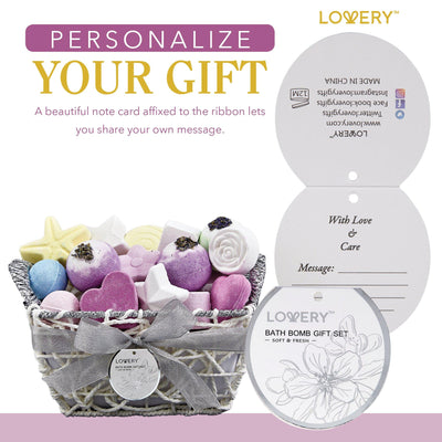 Bath Bomb Spa Gift Set in a Woven Basket - Includes note for a perfect gift