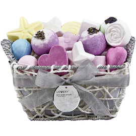 Lovery Bath Bomb Spa Gift Set in a Woven Basket
