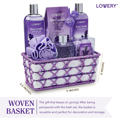 Honey Lavender Spa Bath and Body Gift Set - Includes Lavender Diffuser - Lovery