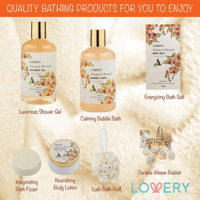 Honey & Almond Spa Bath & Body Gift Set - Lovery