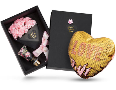 Mother's Day Spa Gift Basket with Pink Carnation Soaps and Reversible Sequin Love Pillow