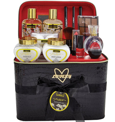Jasmine Bath and Body Gift Set with Makeup and Black Leather Cosmetic Bag - Lovery