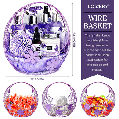 Lavender Deluxe Spa Bath and Body Gift Set in a Purple Candy Dish - Lovery
