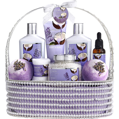 Lavender and Coconut Spa Bath and Body Gift Set in a Pearl Basket
