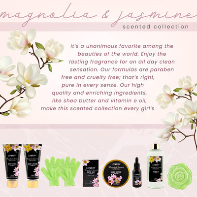 Magnolia and Jasmine Scented Gift Basket with Jojoba Oil 2021