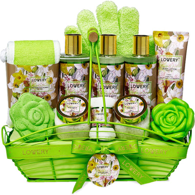Magnolia and Jasmine Deluxe Spa Bath and Body Set with Shower Gloves - Lovery