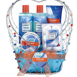 Ocean Wave Spa Bath and Body Gift Set in Jeweled Heart Shaped Candy Holder - Lovery