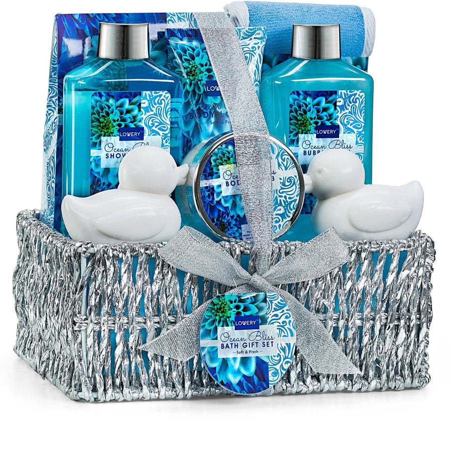 Ocean Bliss Fragrance Spa Bath and Body Gift Set in a Silver Basket - Lovery
