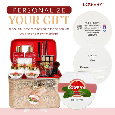 Pink Grapefruit Bath and Body Gift Set with Makeup and Rose Gold Leather Cosmetic Bag - Lovery
