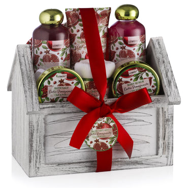 Exotic Pomegranate Fragrance Spa Bath and Body Gift Set in a Wood Holder - Lovery