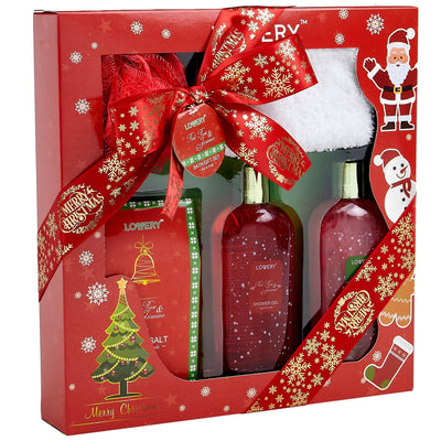 Christmas Spa Bath and Body Gift Set in Red Rose Fragrance - Lovery