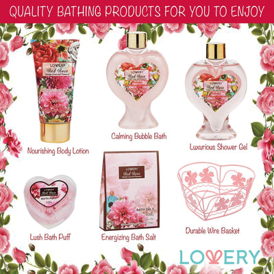 Red Rose Spa Bath & Body Gift Set - Lovery