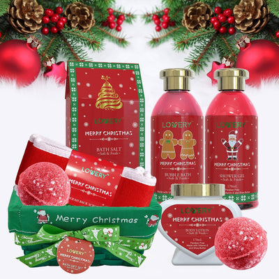 Christmas Spa Bath and Body Set in Strawberry and Sandalwood Fragrance - Lovery