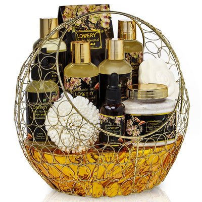 Sweet Almond Deluxe Spa Bath and Body Set in a Gold Candy Dish - Lovery
