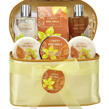Warm Vanilla Sugar Spa Bath and Body Set in a Cosmetic Bag - Lovery