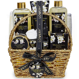 White Orchid Spa Bath and Body Set in Gold Basket - Lovery