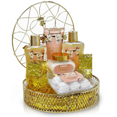 White Rose and Jasmine Spa Bath and Body Set In a Gold Perfume Holder - Lovery