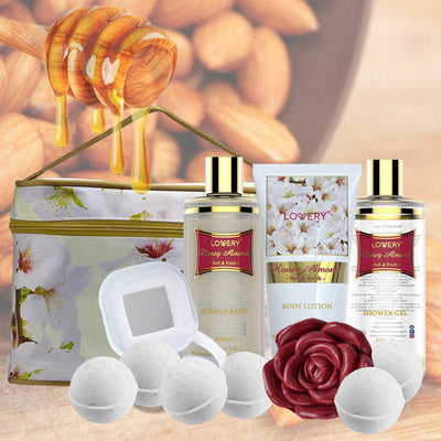 Honey Almond Spa Bath and Body Gift Set in Cosmetic Bag - Lovery
