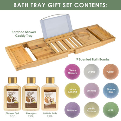 Vanilla & Coconut Scented Home Spa Gift Set 2021 with Bath Caddy 12PCS
