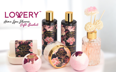 Peony and Jasmine Spa Bath and Body Set - Includes Diffuser and Shower Caddy - Lovery