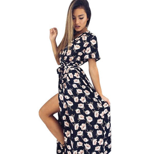 Floral Deep V long dress Women