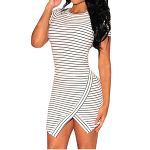 Sexy Irregular Striped Dress Slim Fit