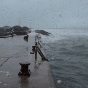 Ocean Thunderstorm Sounds near the Harbour