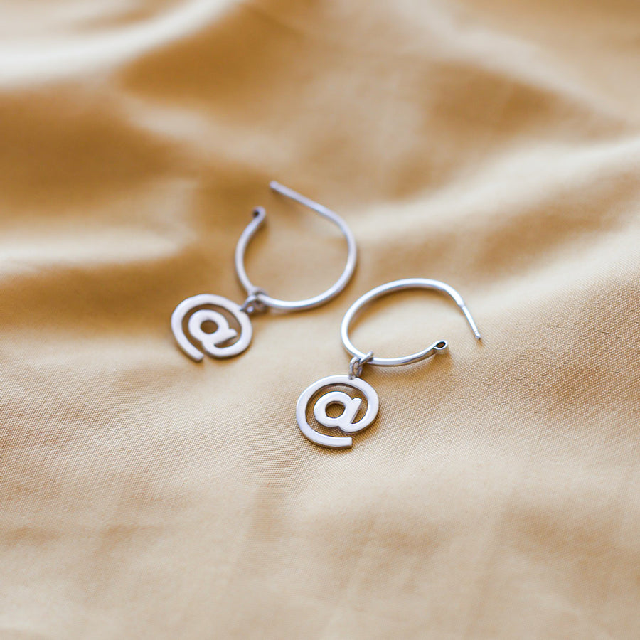 At Sign Hoop Earrings - Made to order