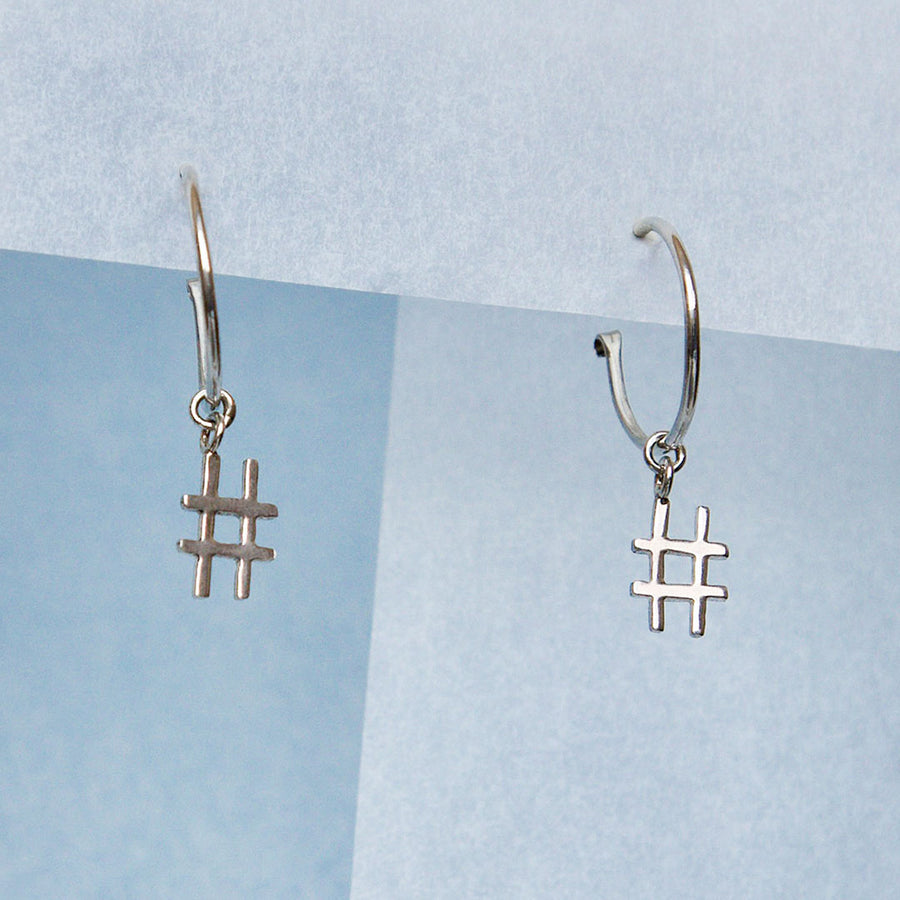 Hashtag Hoop Earrings - Made to order