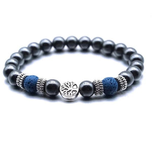 Dark Blue Tree of Life Lava Stone Metal Bracelet