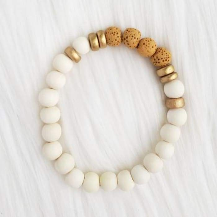 Yellow & White Lava Stone Bracelet