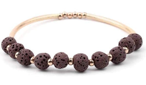 Lava Stone Essential Oil Bracelet - Brown Lava Stone and Gold