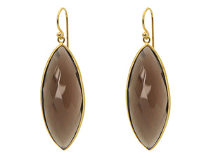 Marquise Smoky Quartz Hook Earrings