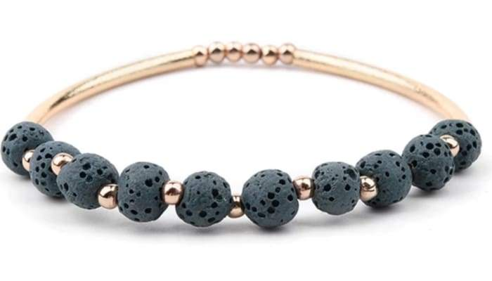Lava Stone Essential Oil Bracelet - Dark Green Lava Stone and Gold