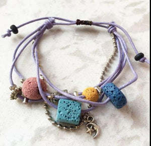 Lava Stone Essential Oil Bracelet - Purple Lava Charms