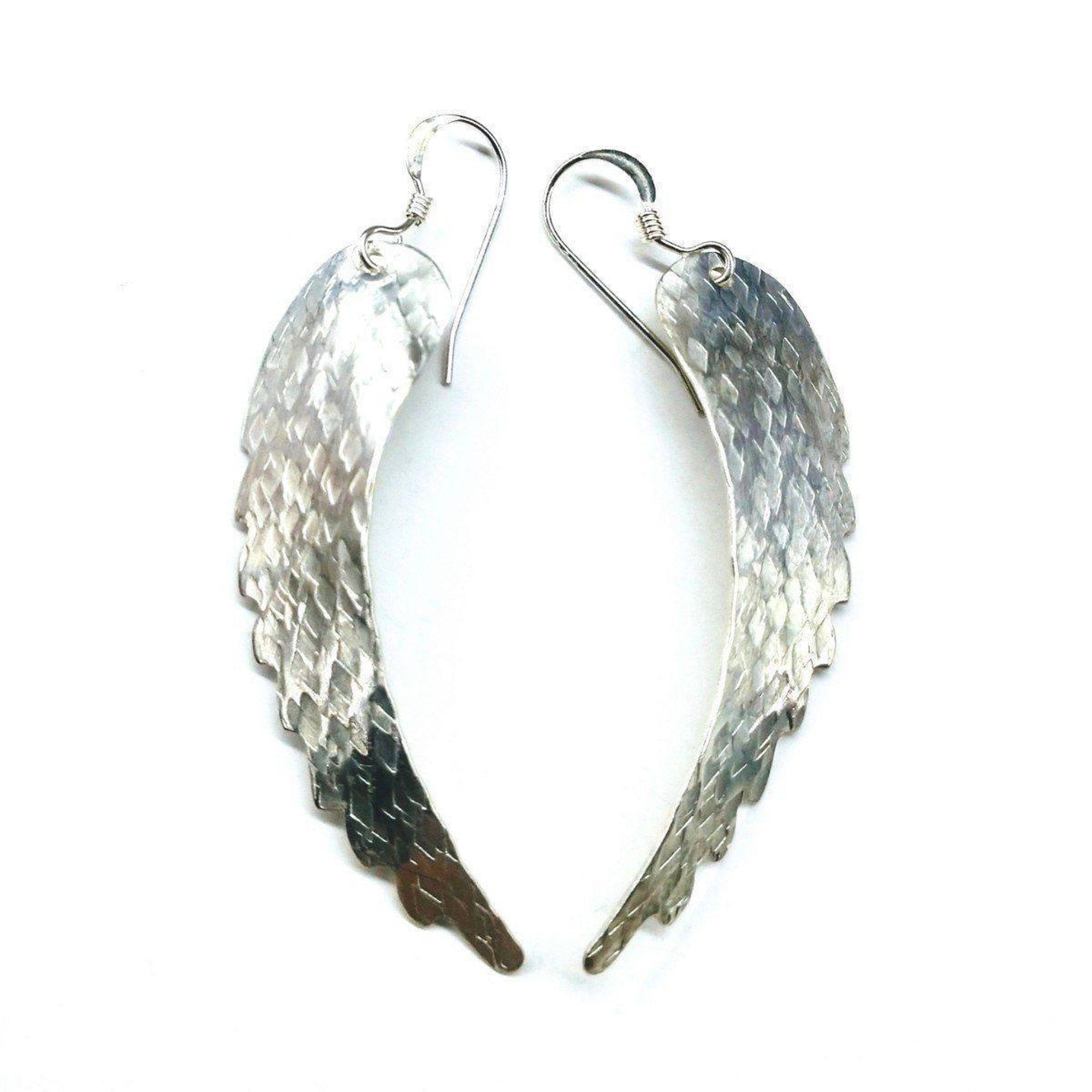 Sterling Silver Hammer Pattern Sculpted Angel Wing Earrings