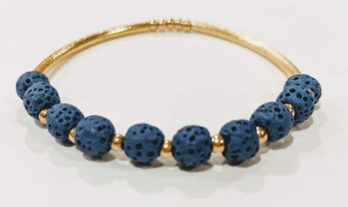Lava Stone Essential Oil Bracelet - Dark Blue Lava Stone and Gold